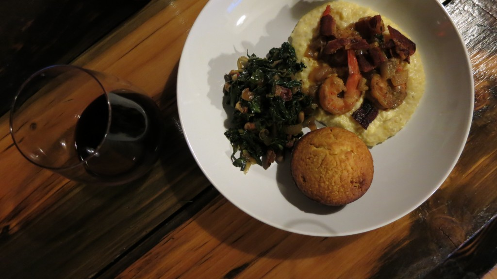 Shrimp grits with collard greens j looney for Creamy polenta with mushrooms and collards